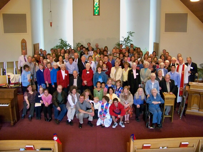 Members of the Cape Elizabeth United Methodist Church following the 150th anniversary service in May, 2009